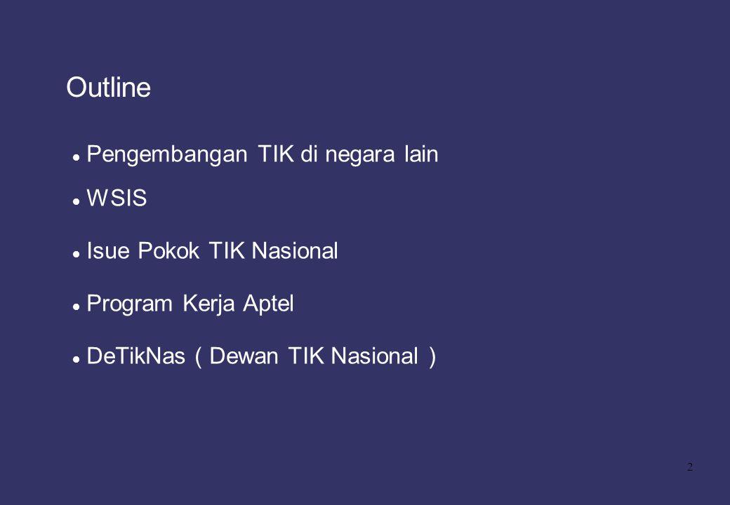 2 Outline Pengembangan TIK di negara lain WSIS Isue Pokok TIK Nasional Program Kerja Aptel DeTikNas ( Dewan TIK Nasional )