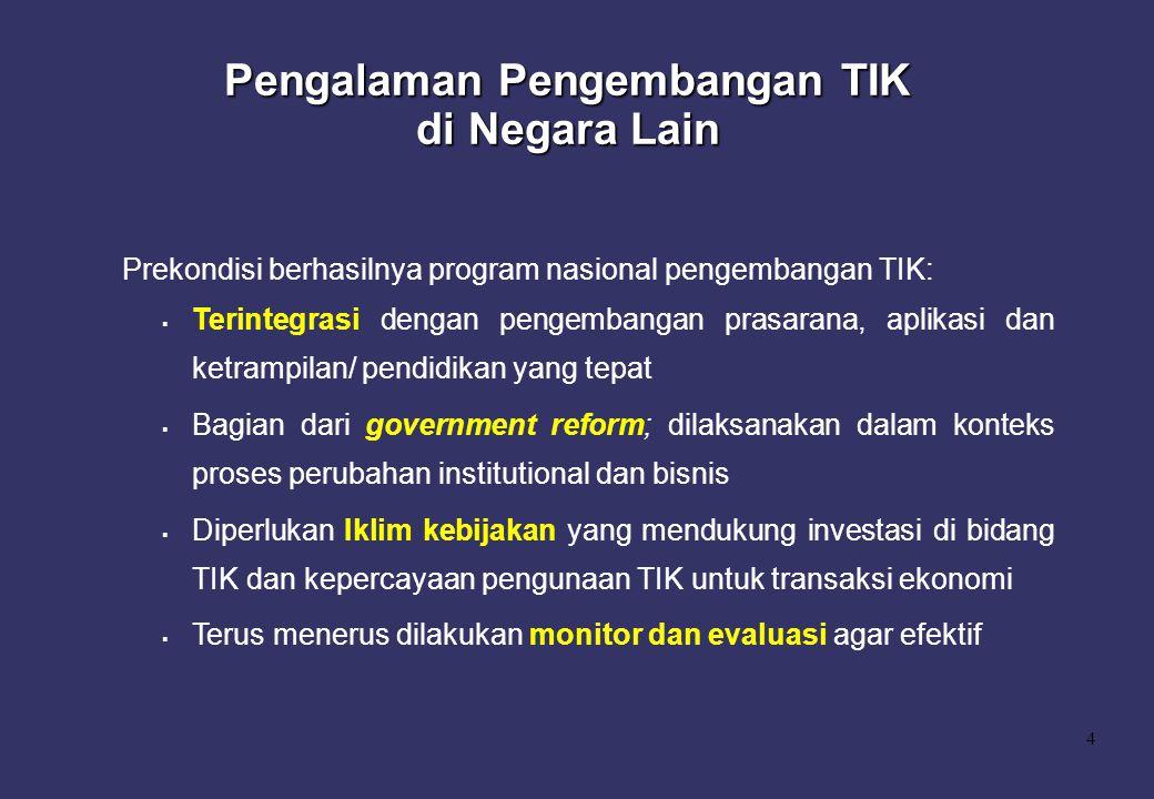 4 Prekondisi berhasilnya program nasional pengembangan TIK:  Terintegrasi dengan pengembangan prasarana, aplikasi dan ketrampilan/ pendidikan yang te