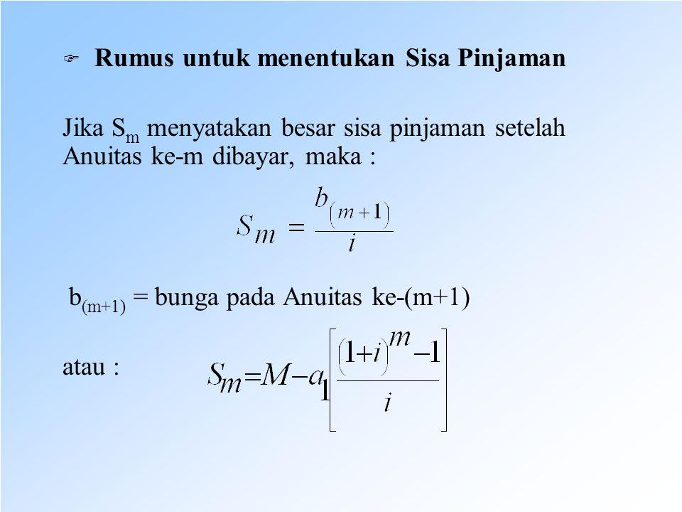  Rumus untuk menentukan Sisa Pinjaman Jika S m menyatakan besar sisa pinjaman setelah Anuitas ke-m dibayar, maka : b (m+1) = bunga pada Anuitas ke-(m