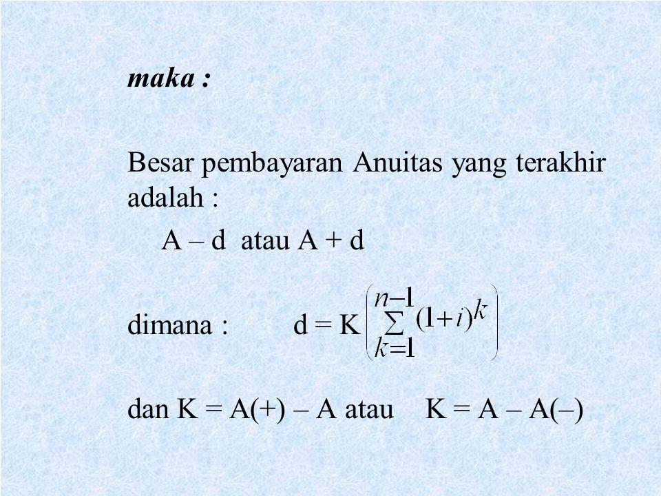maka : Besar pembayaran Anuitas yang terakhir adalah : A – d atau A + d dimana :d = K dan K = A(+) – A atauK = A – A(–)