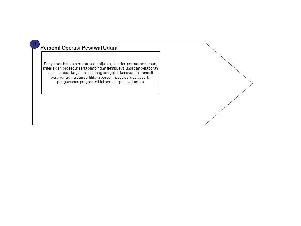B Personil Operasi Pesawat Udara Penyiapan bahan perumusan kebijakan, standar, norma, pedoman, kriteria dan prosedur serta bimbingan teknis, evaluasi