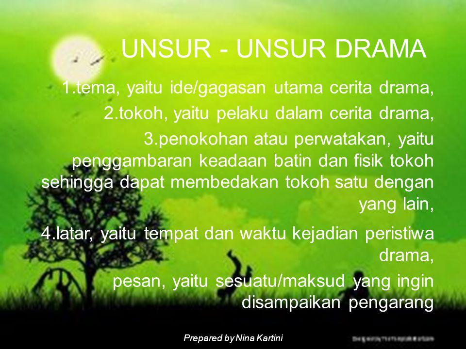 Prepared by Nina Kartini UNSUR - UNSUR DRAMA 1.tema, yaitu ide/gagasan utama cerita drama, 2.