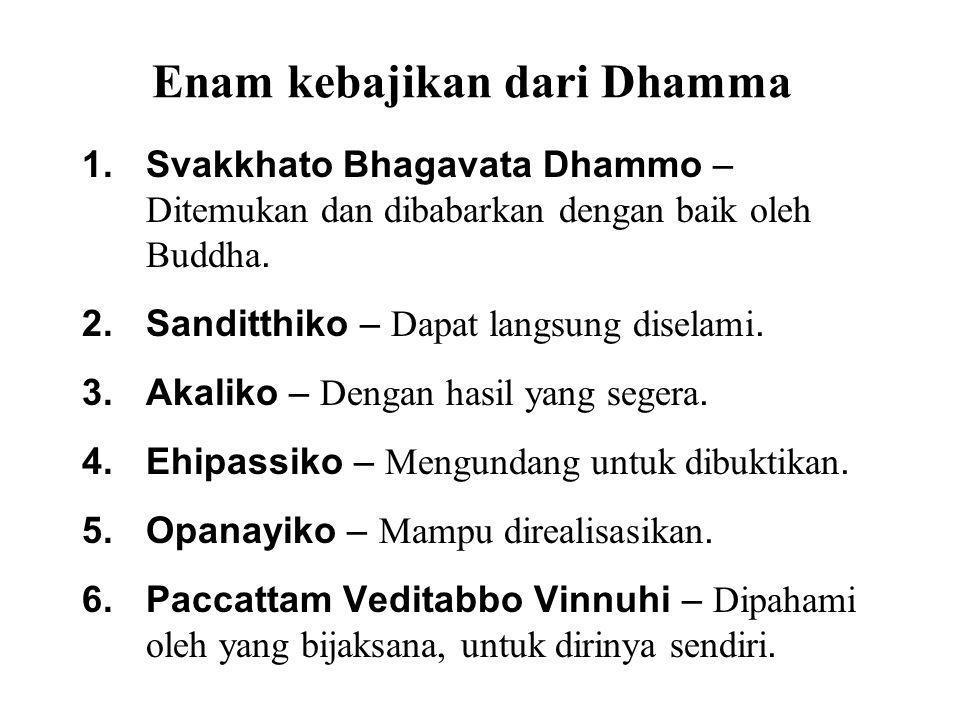 Enam kebajikan dari Dhamma 1.Svakkhato Bhagavata Dhammo – Ditemukan dan dibabarkan dengan baik oleh Buddha. 2.Sanditthiko – Dapat langsung diselami. 3