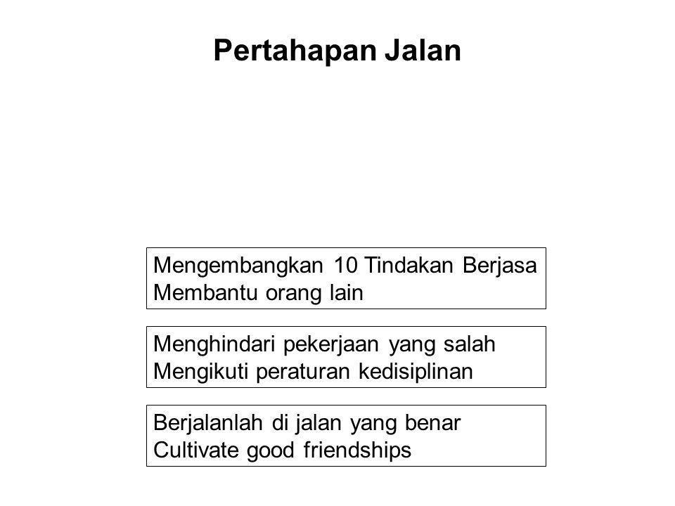 Berjalanlah di jalan yang benar Cultivate good friendships Menghindari pekerjaan yang salah Mengikuti peraturan kedisiplinan Mengembangkan 10 Tindakan