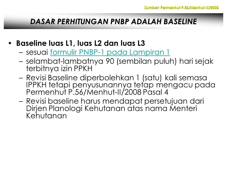 DASAR PERHITUNGAN PNBP ADALAH BASELINE Baseline luas L1, luas L2 dan luas L3 –sesuai formulir PNBP-1 pada Lampiran 1formulir PNBP-1 pada Lampiran 1 –selambat-lambatnya 90 (sembilan puluh) hari sejak terbitnya izin PPKH –Revisi Baseline diperbolehkan 1 (satu) kali semasa IPPKH tetapi penyusunannya tetap mengacu pada Permenhut P.56/Menhut-II/2008 Pasal 4 –Revisi baseline harus mendapat persetujuan dari Dirjen Planologi Kehutanan atas nama Menteri Kehutanan Sumber: Permenhut P.56/Menhut-II/2008