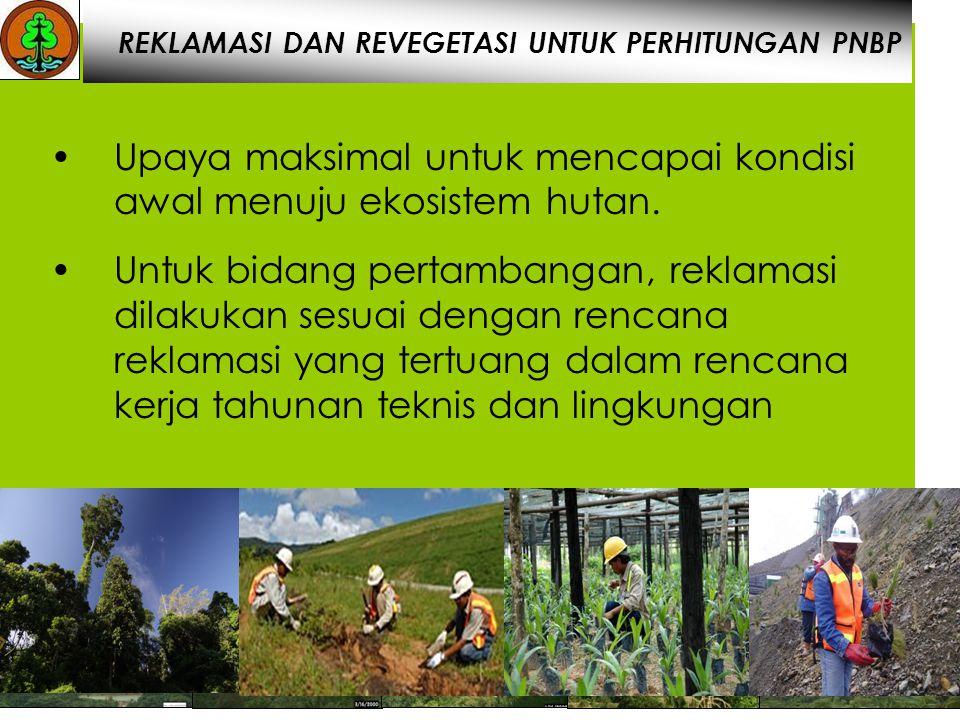 February 1999 March 2000January 2002May 2007 February 2008 February 1999March 2000January 2002May 2007February 2008 REKLAMASI DAN REVEGETASI UNTUK PERHITUNGAN PNBP Upaya maksimal untuk mencapai kondisi awal menuju ekosistem hutan.