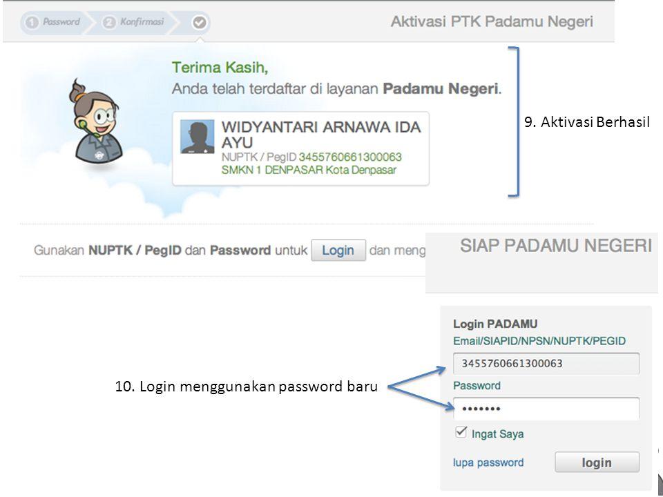 9. Aktivasi Berhasil 10. Login menggunakan password baru