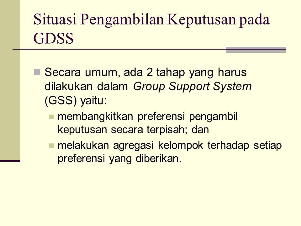 Secara umum, ada 2 tahap yang harus dilakukan dalam Group Support System (GSS) yaitu: membangkitkan preferensi pengambil keputusan secara terpisah; da