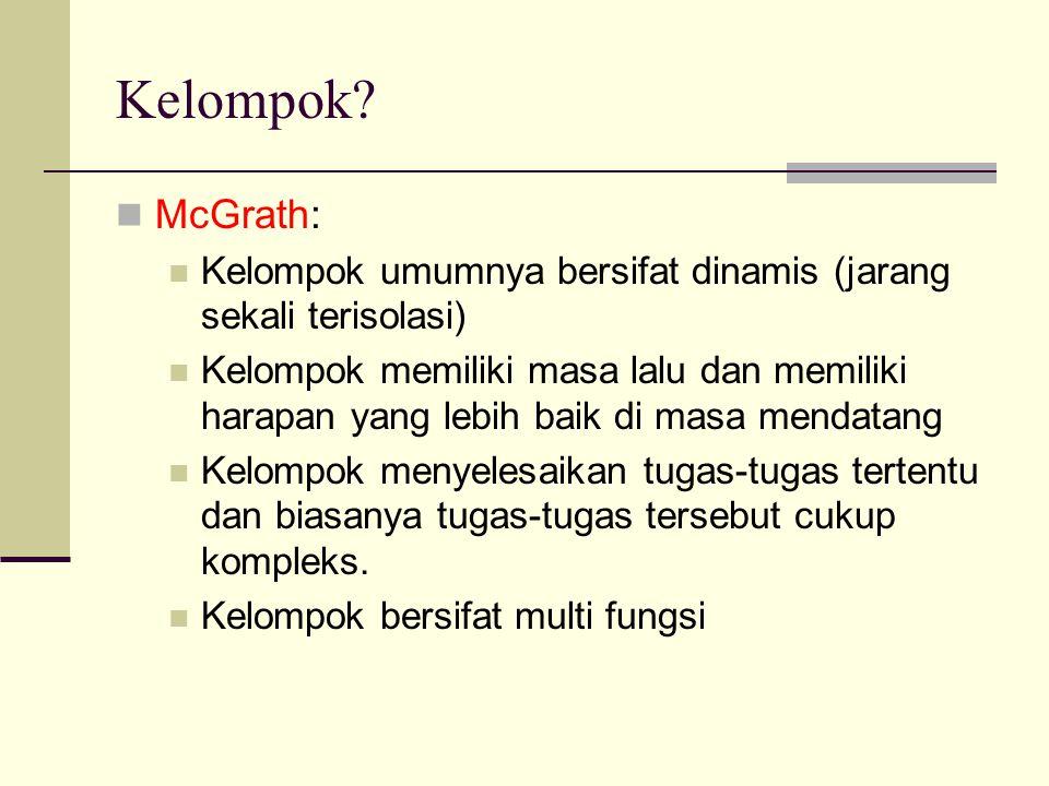 Kelompok? McGrath: Kelompok umumnya bersifat dinamis (jarang sekali terisolasi) Kelompok memiliki masa lalu dan memiliki harapan yang lebih baik di ma