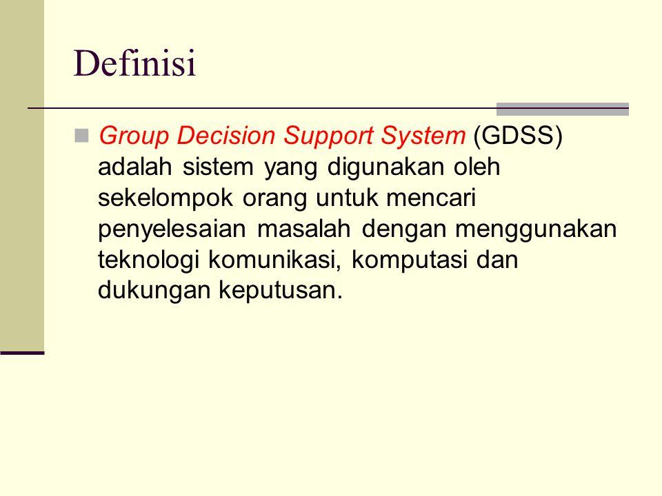 Definisi Group Decision Support System (GDSS) adalah sistem yang digunakan oleh sekelompok orang untuk mencari penyelesaian masalah dengan menggunakan