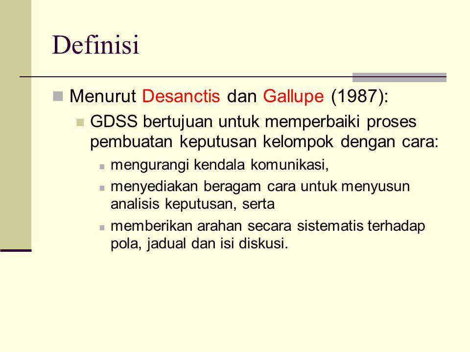 Definisi Menurut Desanctis dan Gallupe (1987): GDSS bertujuan untuk memperbaiki proses pembuatan keputusan kelompok dengan cara: mengurangi kendala ko