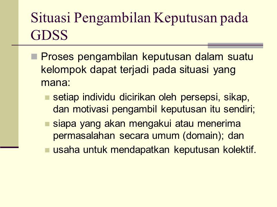 Situasi Pengambilan Keputusan pada GDSS Proses pengambilan keputusan dalam suatu kelompok dapat terjadi pada situasi yang mana: setiap individu diciri