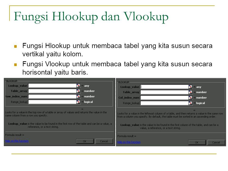 Fungsi Hlookup dan Vlookup Fungsi Hlookup untuk membaca tabel yang kita susun secara vertikal yaitu kolom. Fungsi Vlookup untuk membaca tabel yang kit