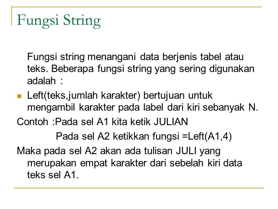 Fungsi String Fungsi string menangani data berjenis tabel atau teks. Beberapa fungsi string yang sering digunakan adalah : Left(teks,jumlah karakter)