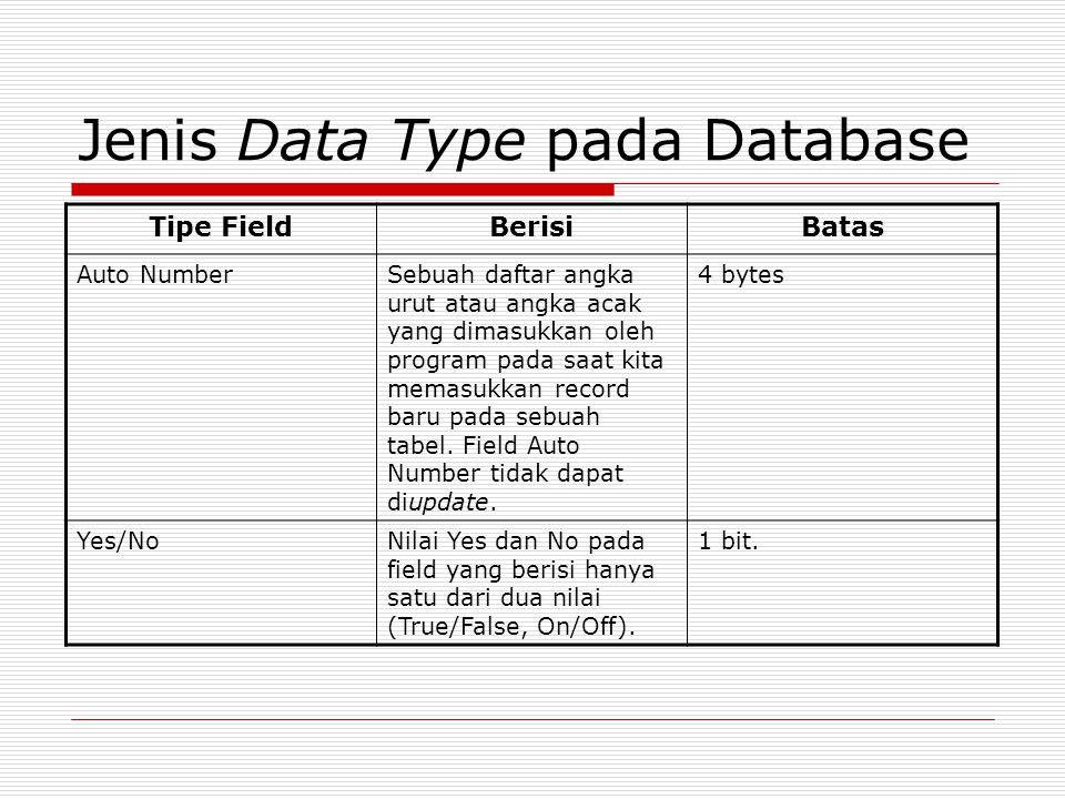 Jenis Data Type pada Database Tipe FieldBerisiBatas Auto NumberSebuah daftar angka urut atau angka acak yang dimasukkan oleh program pada saat kita me