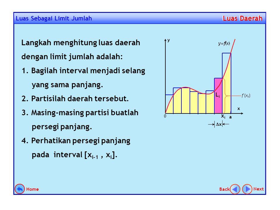 Luas sebagai limit jumlah Luas Daerah Luas Daerah X Y Menentukan luas daerah dengan limit jumlah dapat diilustrasikan oleh gambar di samping. Langkah