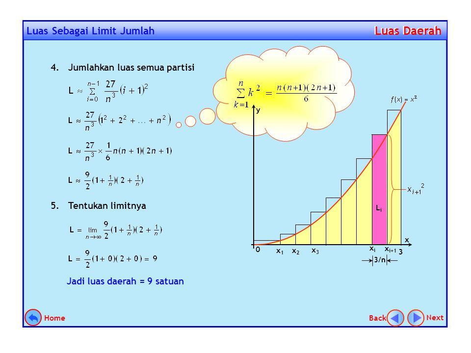 Tentukan luas daerah yag dibatasi oleh kurva y = x 2, sumbu X, dan garis x = 3 dengan menggunakan cara limit jumlah. Contoh 1. Langkah penyelesaian: 1