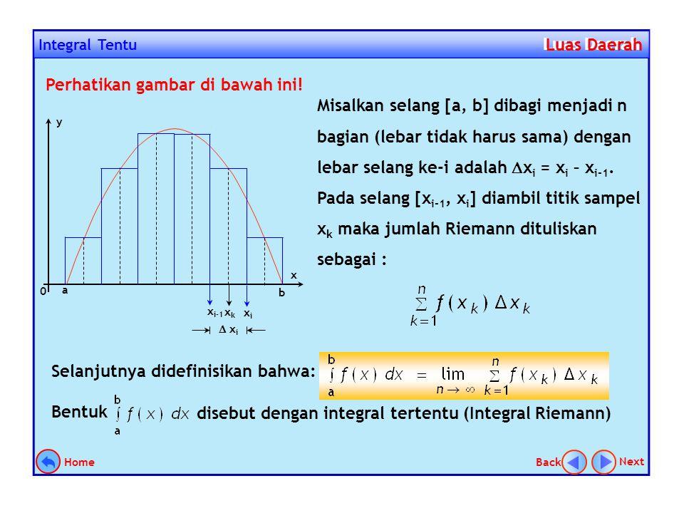 4.Jumlahkan luas semua partisi 5.Tentukan limitnya Jadi luas daerah = 9 satuan 0 x 3 LiLi 3/n x i+1 xixi x1x1 x2x2 x3x3 y Luas Sebagai Limit Jumlah Lu