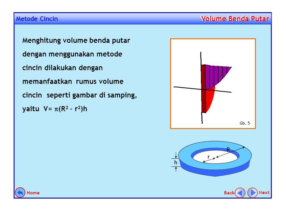 Metode Cincin Volume Benda Putar Volume Benda Putar Metode cincin yang digunakan dalam menentukan volume benda putar dapat dianalogikan seperti menent