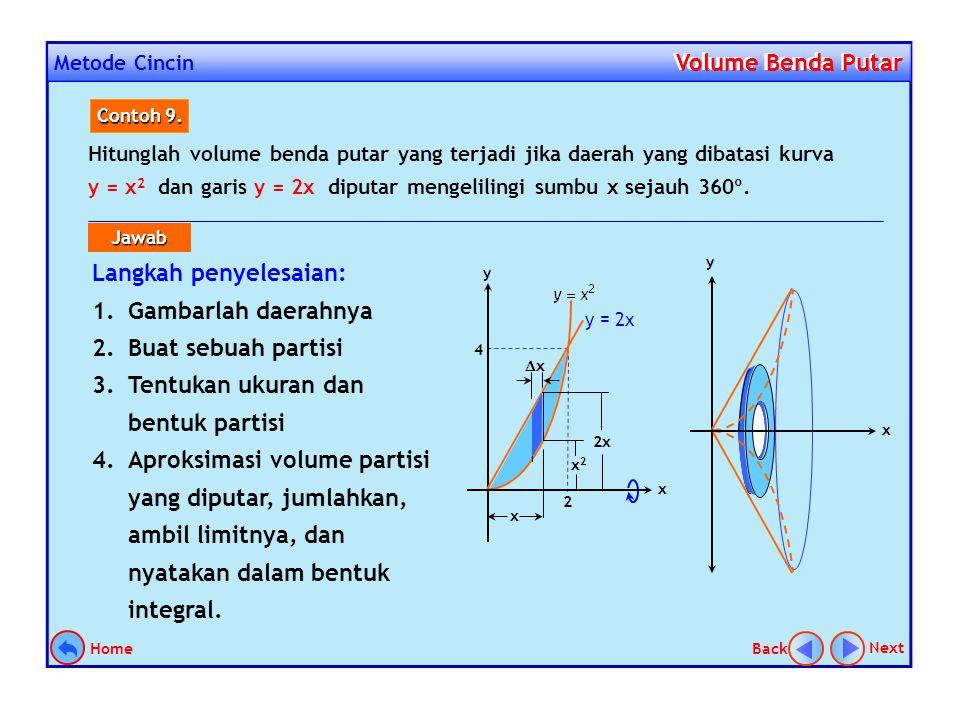 Metode Cincin Volume Benda Putar Volume Benda Putar Menghitung volume benda putar dengan menggunakan metode cincin dilakukan dengan memanfaatkan rumus