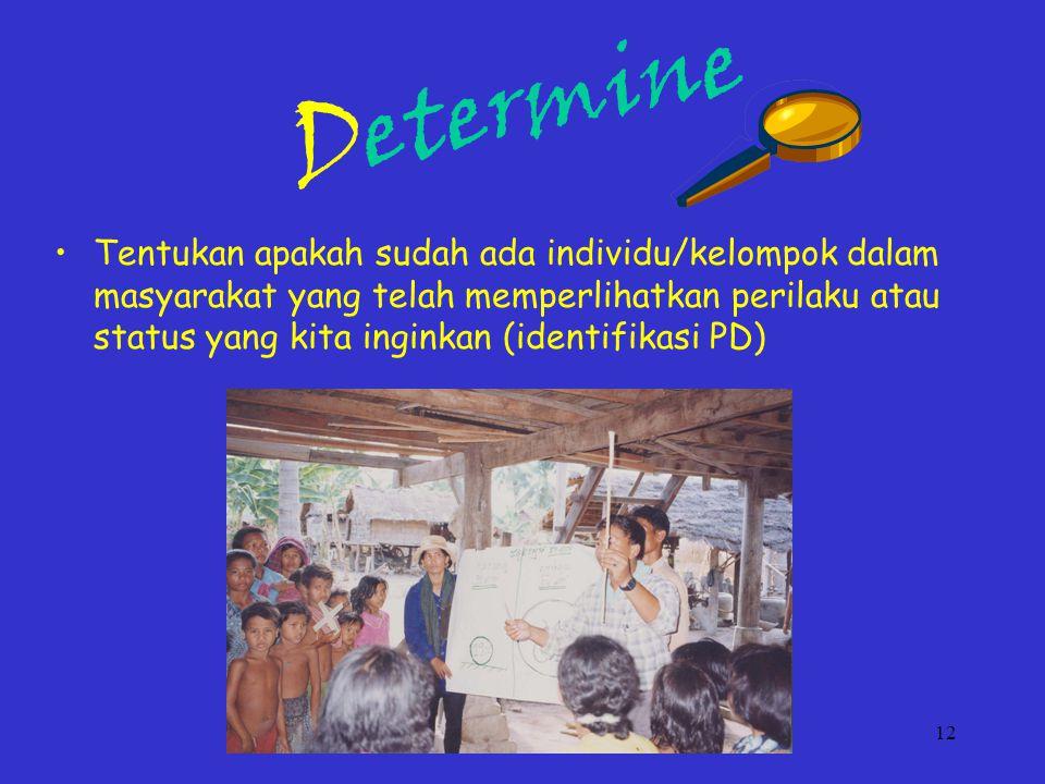 12 Determine Tentukan apakah sudah ada individu/kelompok dalam masyarakat yang telah memperlihatkan perilaku atau status yang kita inginkan (identifikasi PD)