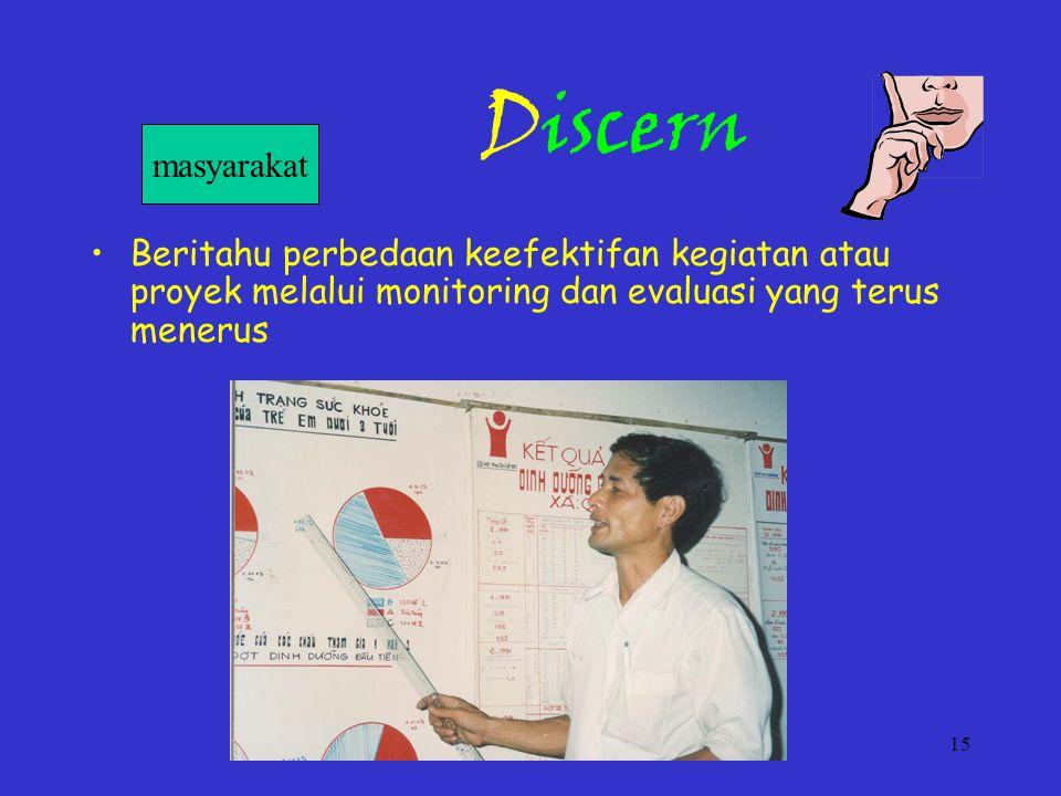 15 Discern Beritahu perbedaan keefektifan kegiatan atau proyek melalui monitoring dan evaluasi yang terus menerus masyarakat