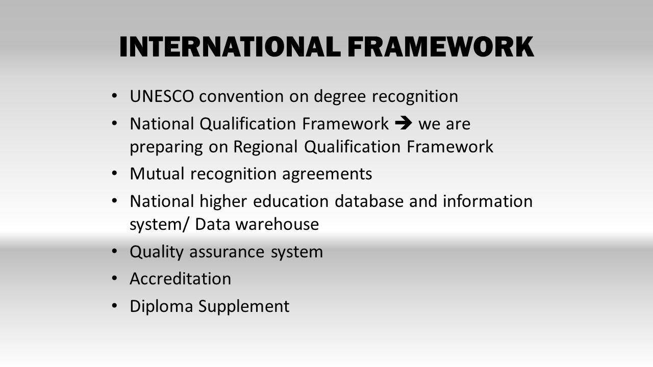 INTERNATIONAL FRAMEWORK UNESCO convention on degree recognition National Qualification Framework  we are preparing on Regional Qualification Framework Mutual recognition agreements National higher education database and information system/ Data warehouse Quality assurance system Accreditation Diploma Supplement