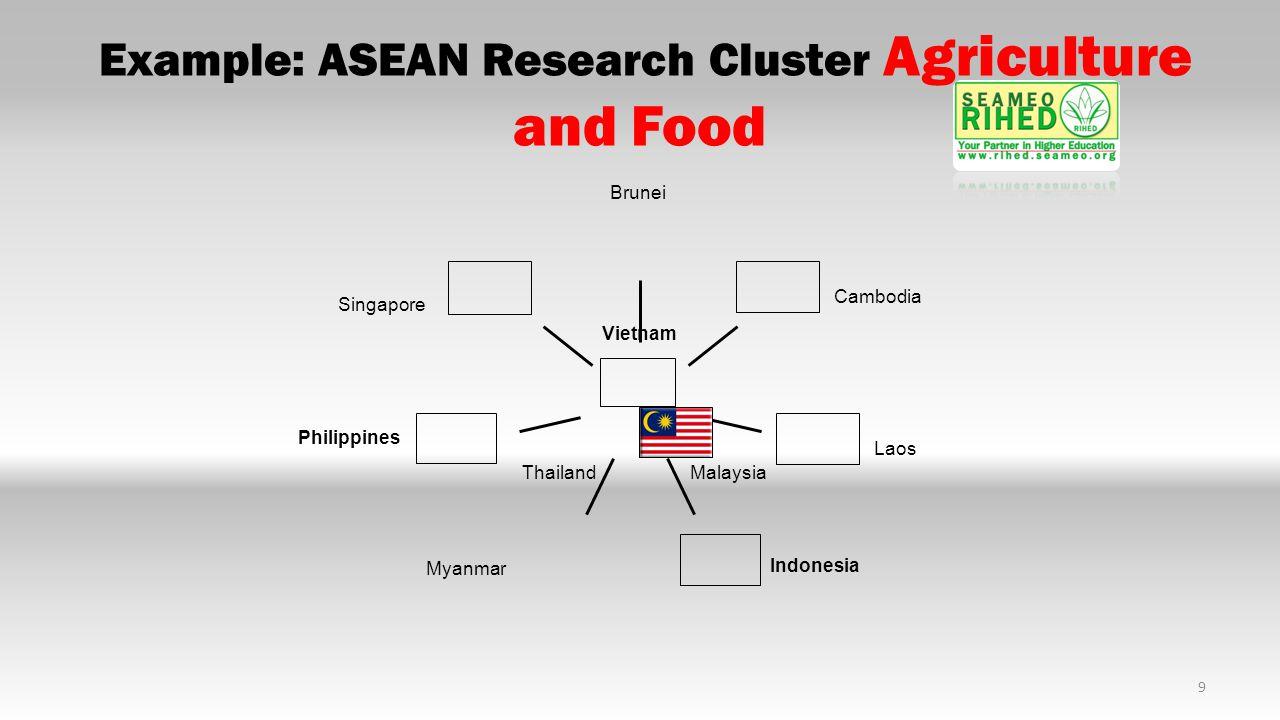 10 Example: ASEAN Research Cluster Environment and Biodiversity Indonesia Vietnam Philippines Singapore Thailand Malaysia Cambodia Laos Brunei Myanmar