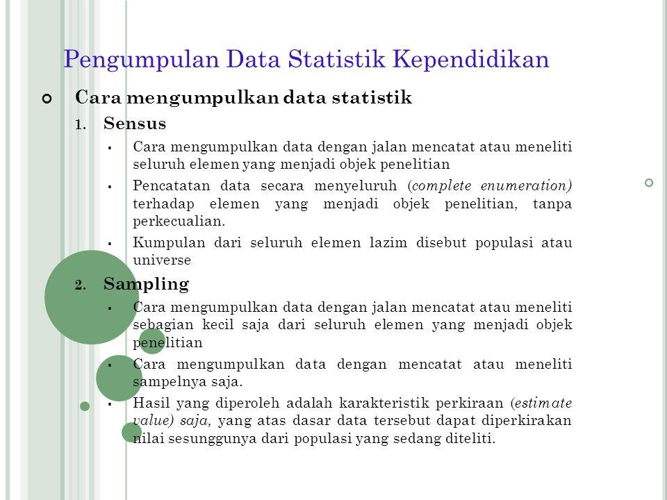 5. Waktu Pengumpulannya 1) Data Seketika ( cross section data)  Data statistik yang mencerminkan keadaan pada satu waktu saja ( at a point of time).