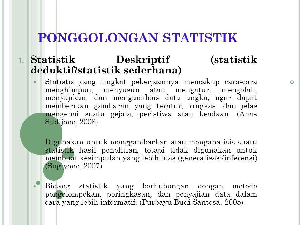 PONGGOLONGAN STATISTIK STATISTIK DESKRIPTIF INFERENSIAL PARAMETRIS NON PARAMETRIS