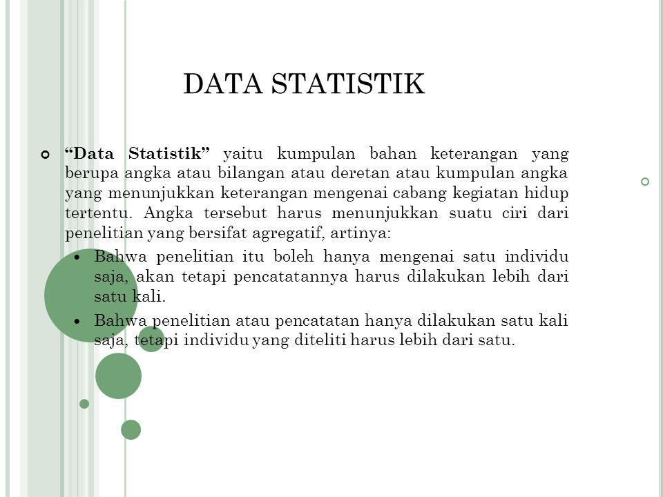 2. Statistik Inferensial (Statistik induktif, statistik lanjut, statistik mendalam ) Yaitu statistik yang menyediakan aturan atau cara yang dapat dipe