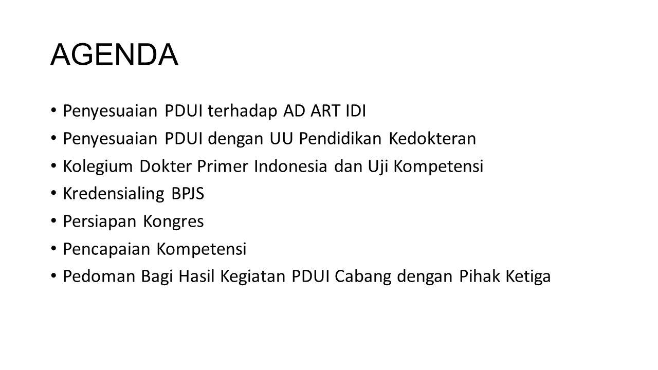 AGENDA Penyesuaian PDUI terhadap AD ART IDI Penyesuaian PDUI dengan UU Pendidikan Kedokteran Kolegium Dokter Primer Indonesia dan Uji Kompetensi Krede