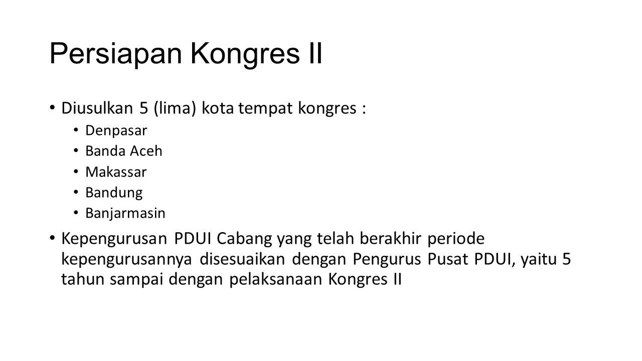 Persiapan Kongres II Diusulkan 5 (lima) kota tempat kongres : Denpasar Banda Aceh Makassar Bandung Banjarmasin Kepengurusan PDUI Cabang yang telah ber