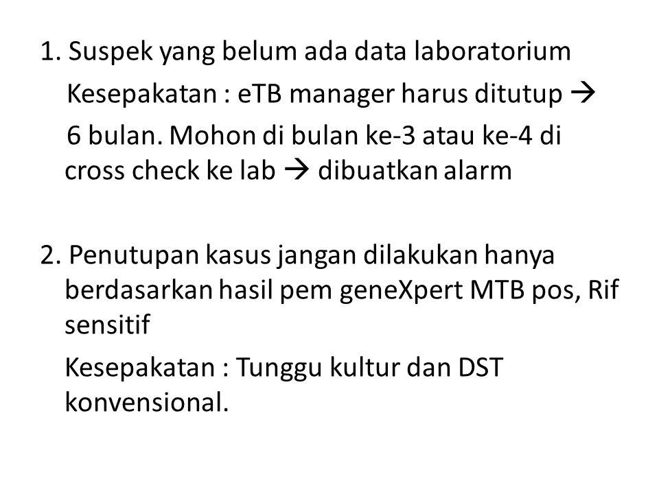1. Suspek yang belum ada data laboratorium Kesepakatan : eTB manager harus ditutup  6 bulan.