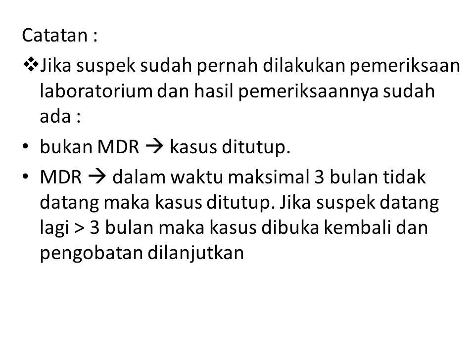 Catatan :  Jika suspek sudah pernah dilakukan pemeriksaan laboratorium dan hasil pemeriksaannya sudah ada : bukan MDR  kasus ditutup.