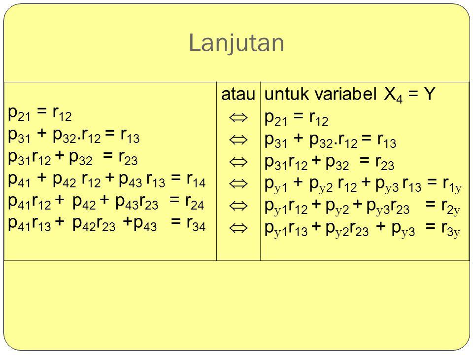 Lanjutan p 21 = r 12 p 31 + p 32.r 12 = r 13 p 31 r 12 + p 32 = r 23 p 41 + p 42 r 12 + p 43 r 13 = r 14 p 41 r 12 + p 42 + p 43 r 23 = r 24 p 41 r 13
