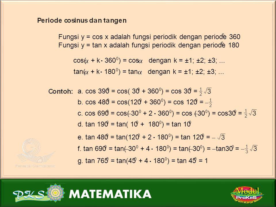 Modul Tentukan nilai dari: a. sin 390 0 d. sin 765 0 b. sin 480 0 e. sin 2  1 2 c. sin 690 0 a. sin 390 0 = sin( 30 0 + 360 0 ) = sin 30 0 = 1 2 b. s