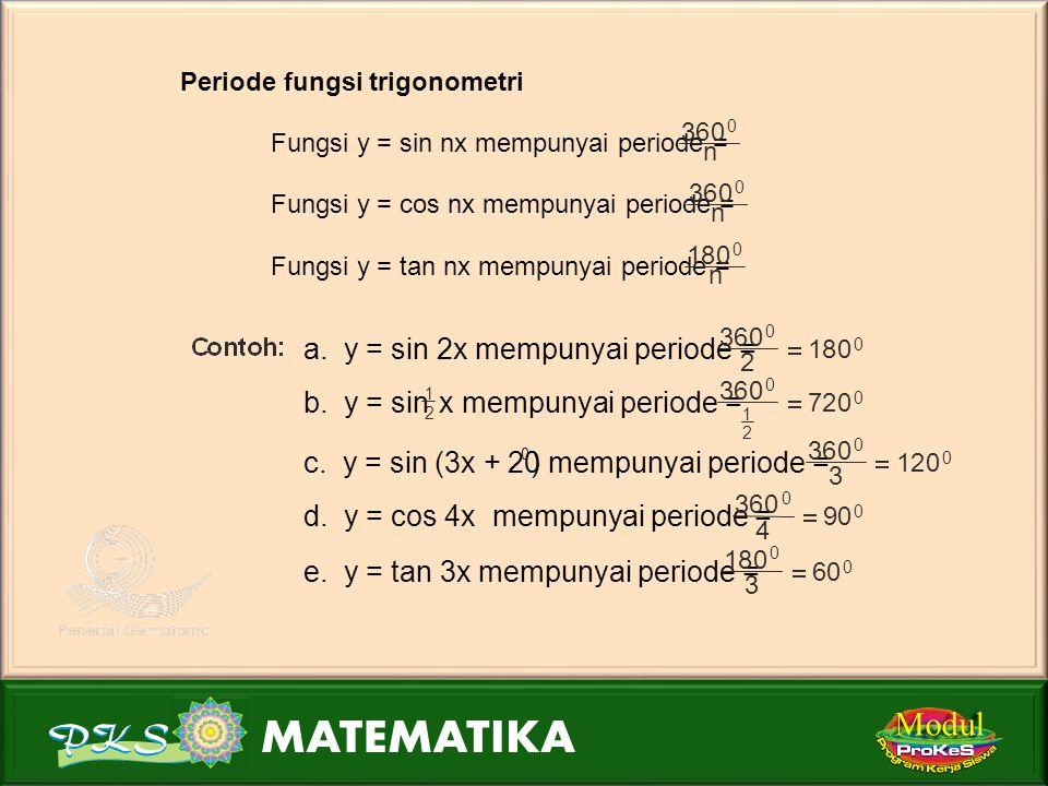 Modul Periode fungsi trigonometri Fungsi y = sin nx mempunyai periode = 360 0 n Fungsi y = cos nx mempunyai periode = 360 0 n Fungsi y = tan nx mempunyai periode = 180 0 n a.