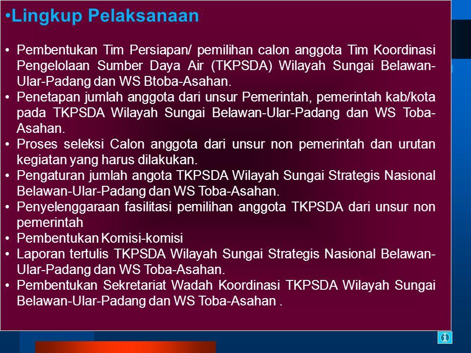 Lingkup Pelaksanaan Pembentukan Tim Persiapan/ pemilihan calon anggota Tim Koordinasi Pengelolaan Sumber Daya Air (TKPSDA) Wilayah Sungai Belawan- Ular-Padang dan WS Btoba-Asahan.