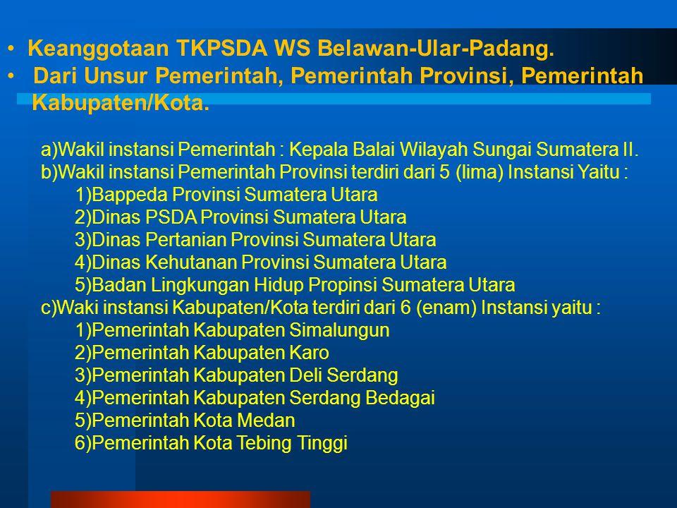 Keanggaotaan TKPSDA WS Strategis nasional Toba-Asahan. a. Wakil instansi Pemerintah : Kepala Balai Wilayah Sungai Sumatera II. b. Wakil instansi Pemer