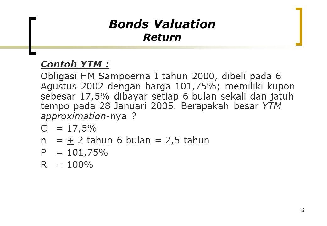 12 Contoh YTM : Obligasi HM Sampoerna I tahun 2000, dibeli pada 6 Agustus 2002 dengan harga 101,75%; memiliki kupon sebesar 17,5% dibayar setiap 6 bul