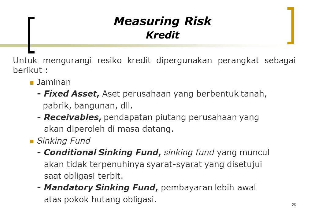 20 Untuk mengurangi resiko kredit dipergunakan perangkat sebagai berikut : Jaminan - Fixed Asset, Aset perusahaan yang berbentuk tanah, pabrik, bangun