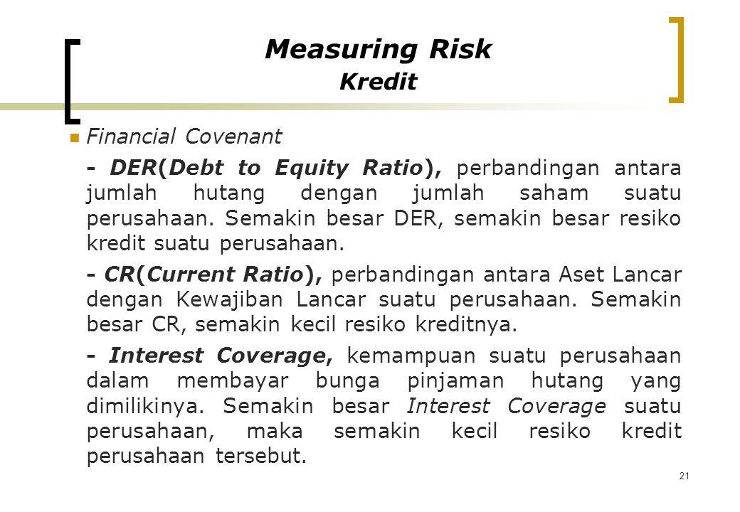 21 Financial Covenant - DER(Debt to Equity Ratio), perbandingan antara jumlah hutang dengan jumlah saham suatu perusahaan. Semakin besar DER, semakin