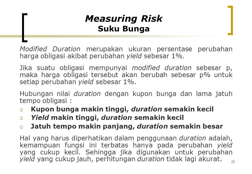 23 Modified Duration merupakan ukuran persentase perubahan harga obligasi akibat perubahan yield sebesar 1%. Jika suatu obligasi mempunyai modified du