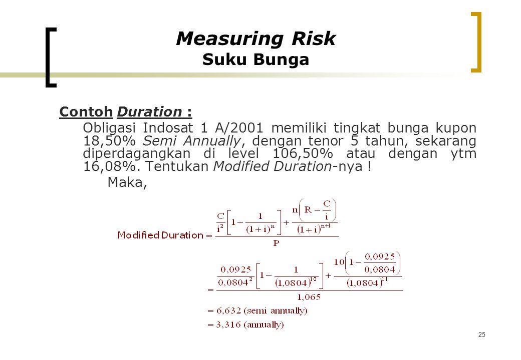 25 Contoh Duration : Obligasi Indosat 1 A/2001 memiliki tingkat bunga kupon 18,50% Semi Annually, dengan tenor 5 tahun, sekarang diperdagangkan di lev