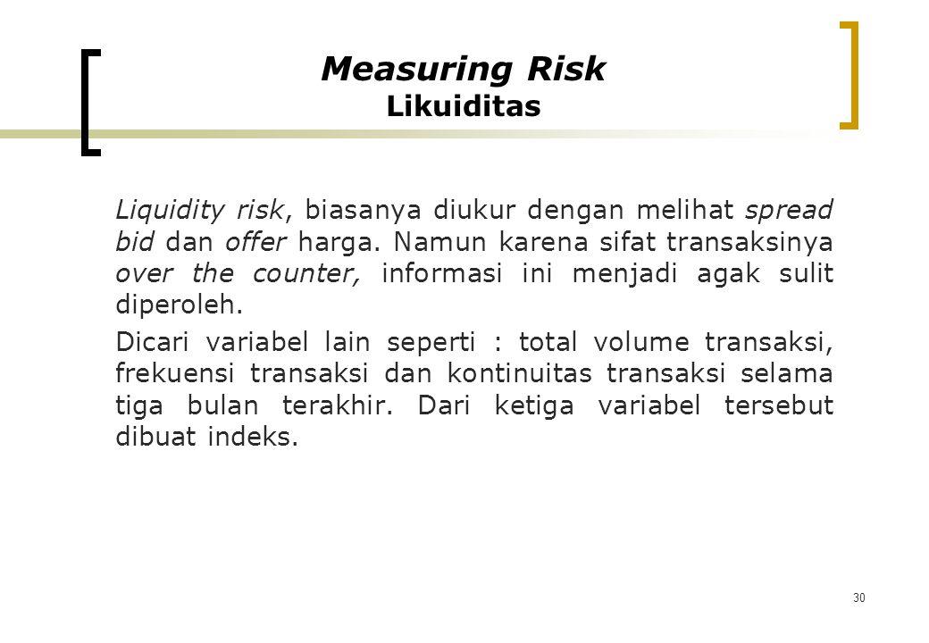30 Liquidity risk, biasanya diukur dengan melihat spread bid dan offer harga. Namun karena sifat transaksinya over the counter, informasi ini menjadi