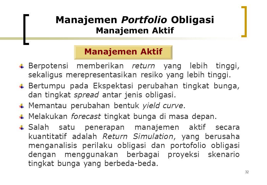 32 Manajemen Aktif Berpotensi memberikan return yang lebih tinggi, sekaligus merepresentasikan resiko yang lebih tinggi. Bertumpu pada Ekspektasi peru