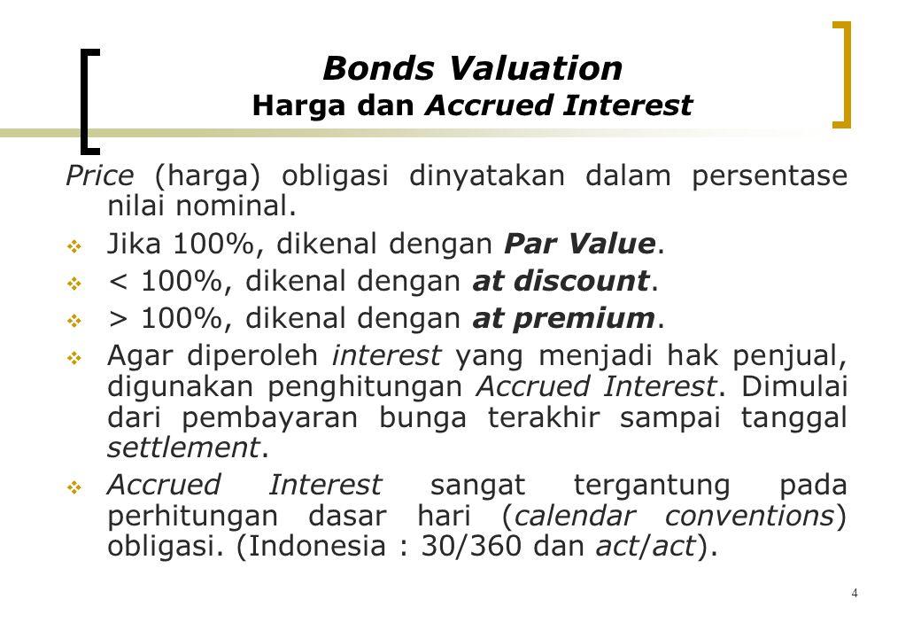 4 Price (harga) obligasi dinyatakan dalam persentase nilai nominal.  Jika 100%, dikenal dengan Par Value.  < 100%, dikenal dengan at discount.  > 1