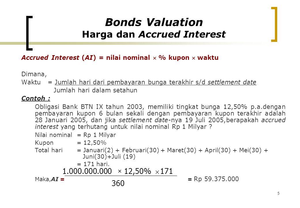 5 Accrued Interest (AI) = nilai nominal  % kupon  waktu Dimana, Waktu = Jumlah hari dari pembayaran bunga terakhir s/d settlement date Jumlah hari d