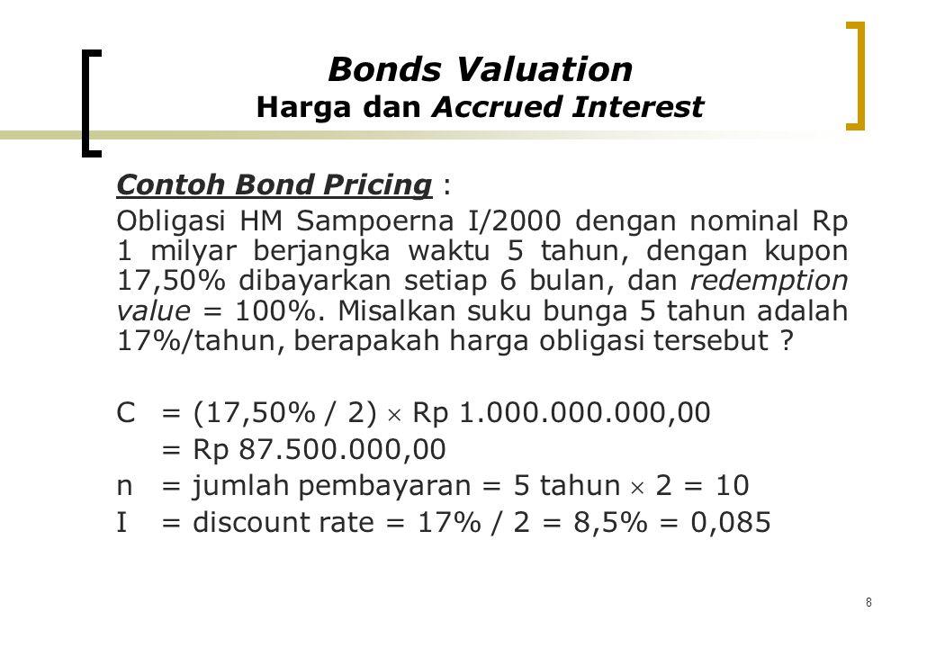 8 Contoh Bond Pricing : Obligasi HM Sampoerna I/2000 dengan nominal Rp 1 milyar berjangka waktu 5 tahun, dengan kupon 17,50% dibayarkan setiap 6 bulan